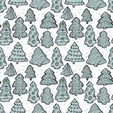 Cute Christmas  seamless pattern with Christmas tree and decorat Stock Image
