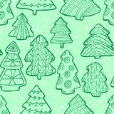 Cute Christmas  seamless pattern with Christmas tree and decorat Royalty Free Stock Image