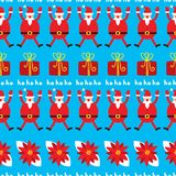 Cute Christmas seamless pattern. Holiday background with poinset stock photography