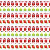 Cute Christmas seamless pattern. Holiday background with poinset vector illustration