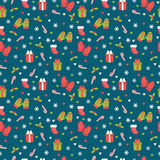 Cute Christmas seamless pattern. Christmas and New Year`s decorative elements. Winter background. Vector illustration Royalty Free Stock Image