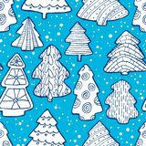 Cute Christmas  seamless pattern with Christmas tree and decorat Stock Photography