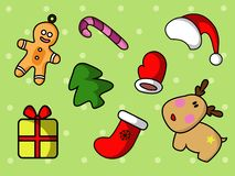 Cute christmas set with cartoon icons. stock illustration