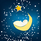 Cute Christmas sleeping baby on the Moon Royalty Free Stock Photo