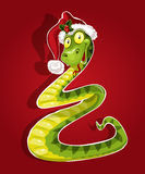 Cute Christmas snake bent like a Christmas tree Stock Images