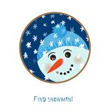 Cute christmas snowman icon on white background for decoration design, greeting card, winter season festive labels. Cartoon children character. Flat style Stock Photos