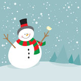 Cute christmas snowman and little bird. Cute christmas holiday snowman and little bird Stock Images