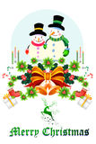 Cute christmas snowman on the ribbon decoration - vector eps10 Royalty Free Stock Image