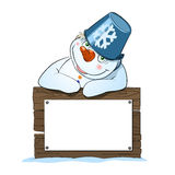 Cute Christmas Snowman with Sign. The snowman with blank sign Royalty Free Stock Photos