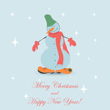 Cute Christmas Snowman Stock Images