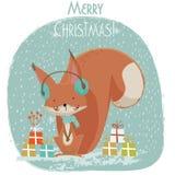 Cute Christmas squirrel cartoon Stock Photography