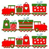 Cute christmas steam train with gift boxes,  illus Royalty Free Stock Image