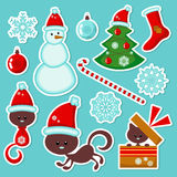 Cute Christmas stickers set. Set of cute Christmas stickers stock illustration