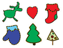 Cute Christmas stickers set Stock Photography