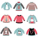 Cute Christmas sweaters set. stock illustration