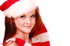 Cute christmas teen. Cute teenager in santa cap, horizontal background with copy space Royalty Free Stock Photography
