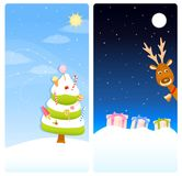 Cute Christmas theme banners with reindeer Stock Photos