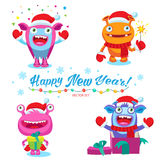 Cute Christmas Theme For Card Design Vector Illustration. Colorful Cartoon New Year Monsters Characters. royalty free illustration