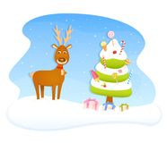 Cute Christmas theme illustration with reindeer Stock Images