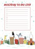 Christmas To Do List. Candy cane frame with cute cats sitting on the roofs and looking at snow. Stock Photography