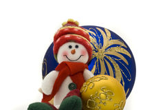Cute Christmas toy with colorful New Year Balls Royalty Free Stock Images