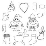 Cute Christmas toys set. Monochrome Cute Christmas toys set. Vector illustration. Isolated on white Stock Images