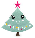 Cute christmas tree character Stock Photo