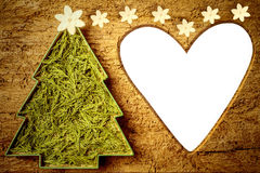 Cute Christmas tree frame heart shaped.Copyspace. Stock Photos