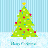 Cute Christmas tree greeting card Stock Image