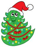 Cute Christmas tree with hat Royalty Free Stock Image