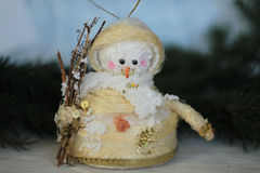 Cute christmas tree snowman decoration Royalty Free Stock Photography
