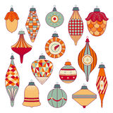 Cute christmas tree toys set. Colorful  icons. Can be us Royalty Free Stock Photo