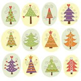 Cute christmas trees. Set of cute  christmas trees Stock Image