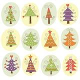 Cute christmas trees Stock Image