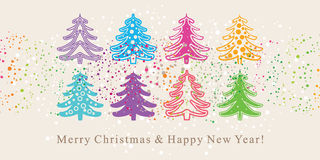 Cute Christmas trees. Cute card with Christmas trees Stock Photo