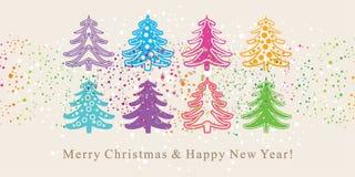 Cute Christmas trees. Stock Photo