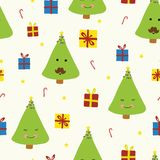Cute Christmas trees with faces on beige white background. Smiling Christmas trees. Trees with mustache. Fun Christmas seamless royalty free illustration