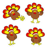 Cute Christmas Turkey Set Stock Image