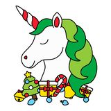 Cute christmas unicorn head with christmas items isolated royalty free stock photos