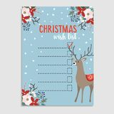 Cute Christmas wish list with deer, winter floral decoration and falling snow. Vector illustration background. Cute Christmas wish list with deer, winter floral Stock Photos