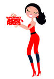 Cute Christmas Woman with gift. Royalty Free Stock Image