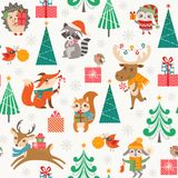 Cute Christmas woodland pattern with happy cartoon animals Stock Photo
