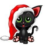 Cute Chrsitmas Kitty with Big Santa Claus Beanie Royalty Free Stock Photo