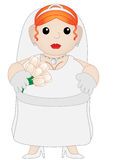 Cute Chubby Cartoon Bride. Cartoon sweet looking bride holding flowers and wearing crown Stock Images