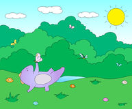 Cute chubby dragon is playing with dragonflies and butterflies o. N blooming spring meadow. Vector illustration Royalty Free Stock Images