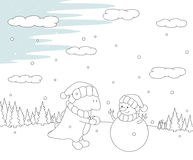Cute chubby dragon sculpts snowman in a snowy forest. Christmas Royalty Free Stock Photo