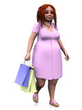 Cute chubby girl holding shopping bags. Stock Photos