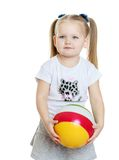 Cute chubby little girl with long blonde tails Royalty Free Stock Image