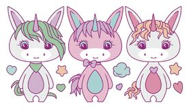 Cute chubby pastel colored cartoon unicorn vector illustration set royalty free illustration