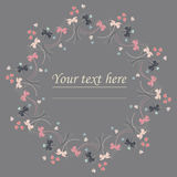 Cute circle frame with cute hearts and flowers Stock Image